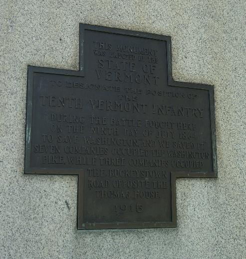 Vermont Monument plaque closeup image